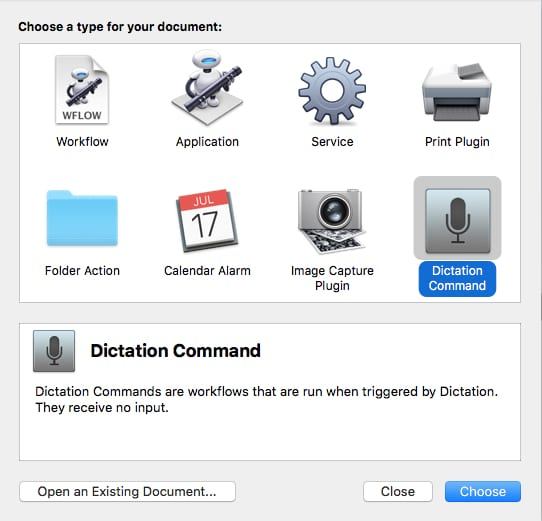 Dictation commands in Automator