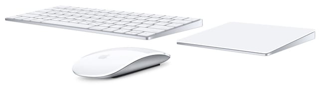 Apple Magic Keyboard, Magic Mouse 2 and Magic Trackpad 2. Image courtesy of Apple Inc.