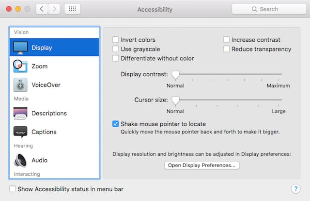 Accessibility System Preferences