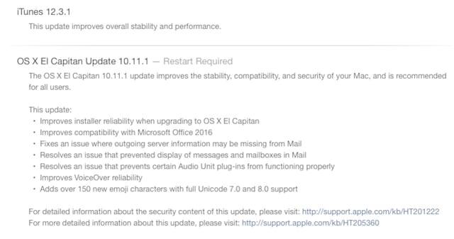 OS X 10.11.1 Update