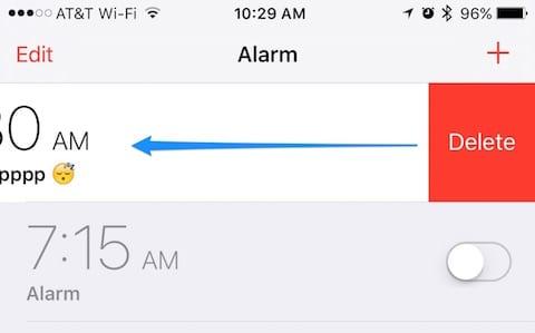 Swipe to delete an alarm