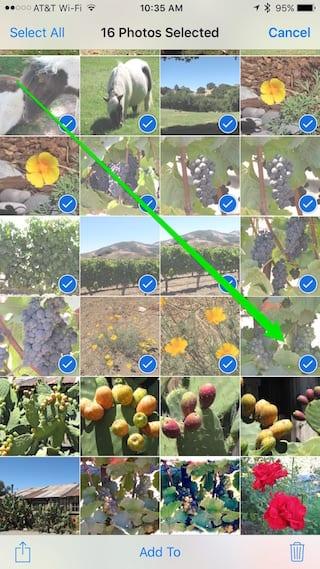 Drag-selecting photos