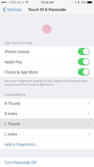 Touch ID settings