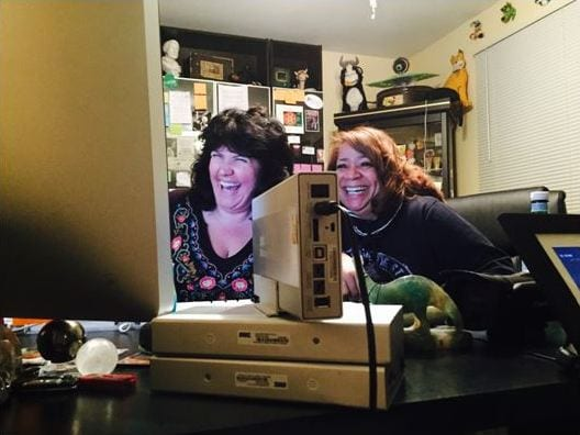 Lighter Moments – Filmmaker Antonia Carey (left) and project supervising editor Sue Lawson enjoy one of the numerous interviews about the history of film preservation during the production of Reel Heroes.