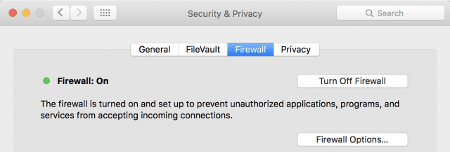 "The Firewall tab in System Preferences> Security & Privacy "" width=""640″ height=""217″></a></p><p>If it isn't enabled and you'd like to turn it on, simply click the Turn On Firewall button that is in the same location as the Turn Off Firewall button in the image. You shouldn't need to change options for the firewall, but if you do, there's a Firewall Options button for just that purpose. Clicking it displays something similar to the following:</p><p><a href=https://blog.macsales.com/wp-content/uploads/2016/01/Firewall-2-e1452618727874.png><img class="