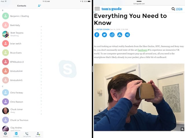 Skype (left) and Safari split screen