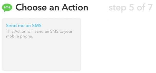 Adding an SMS action