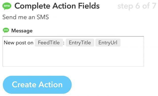 The details of the Send SMS action
