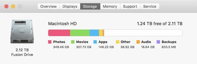 Determining the storage capacity of a Mac