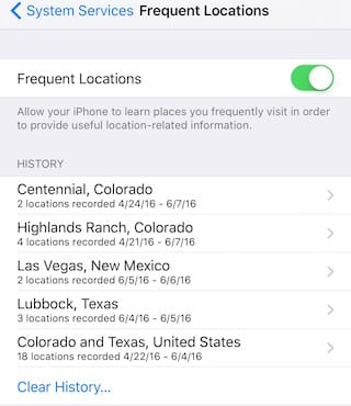 iOS Location History