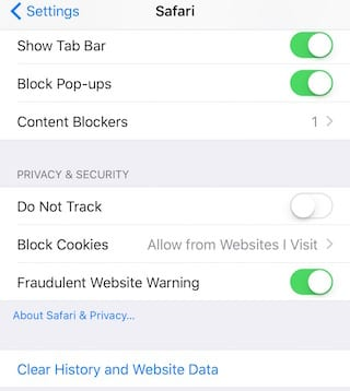 Safari Privacy Settings