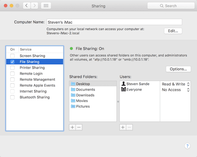 The Sharing pane in OS X System Preferences