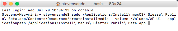 Your Terminal window should look similar to this, but with different Mac name, user name, install volume name.