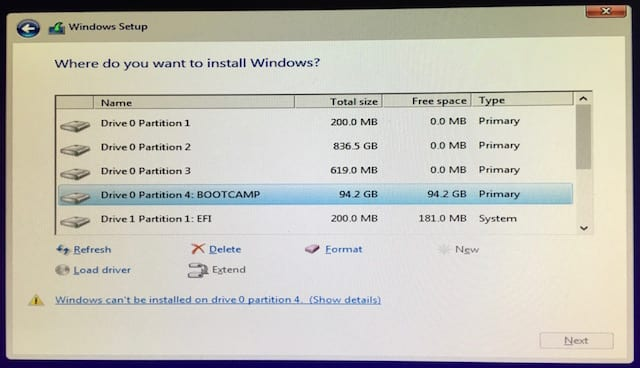 Selecting the BOOTCAMP partition in which to install Windows 10