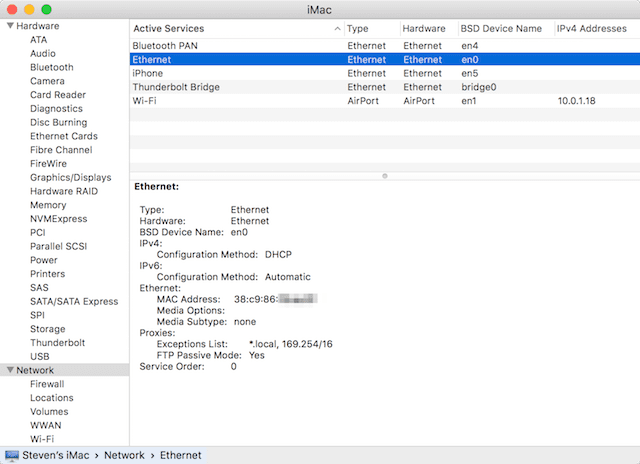 Use the System Information Utility to find other MAC addresses