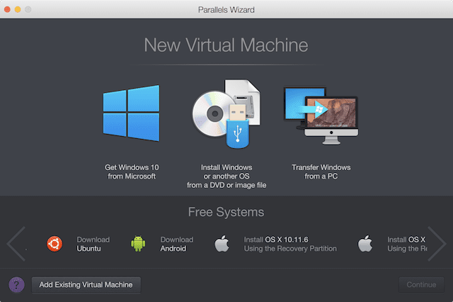 The Parallels VM Wizard, which now allows users to buy a Windows license