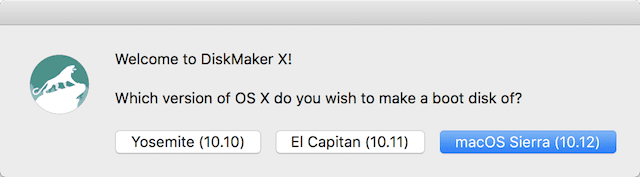 The main DiskMaker X 6 dialog