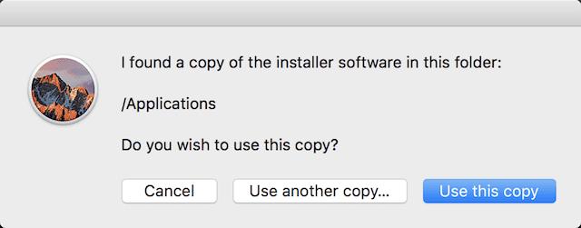 DiskMaker finds the macOS Sierra installer