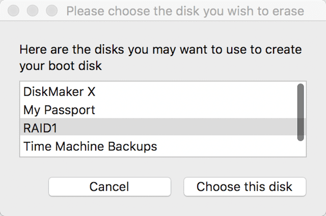 "Select the disk volume for your boot disk, then click ""Choose this disk"""