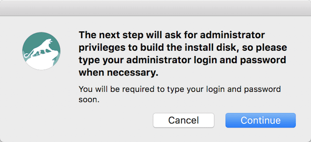 A reminder that you'll need the admin username and password to create the boot disk