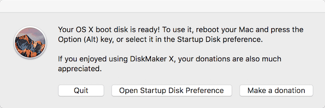 The bootable macOS Sierra disk is ready!