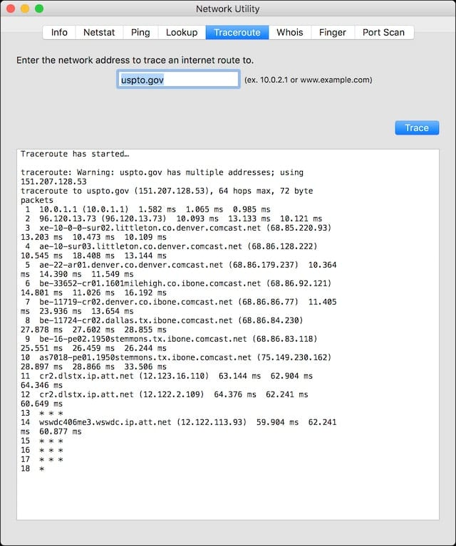 Network Utility - Traceroute
