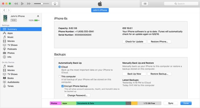 Backing up an iOS device in iTunes