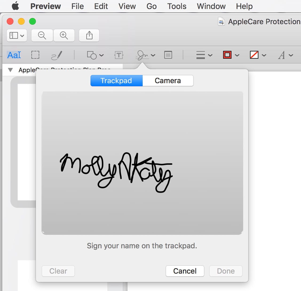 (You can use either your Mac's trackpad or a camera to create a signature to use for signing documents electronically.)
