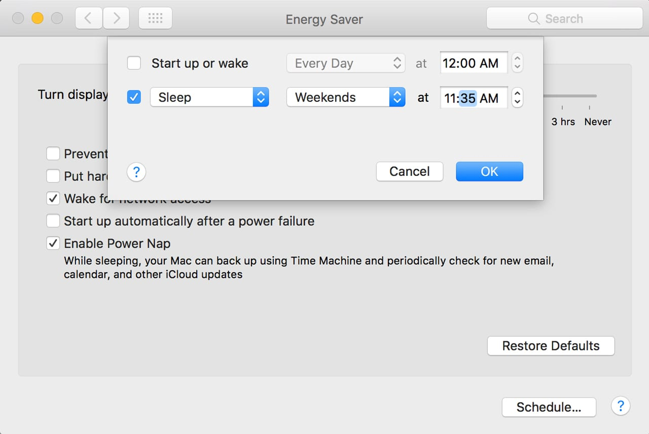 (It's very easy to set a sleep schedule and then forgot about it, making you wonder why your Mac suddenly went to sleep on its own.)