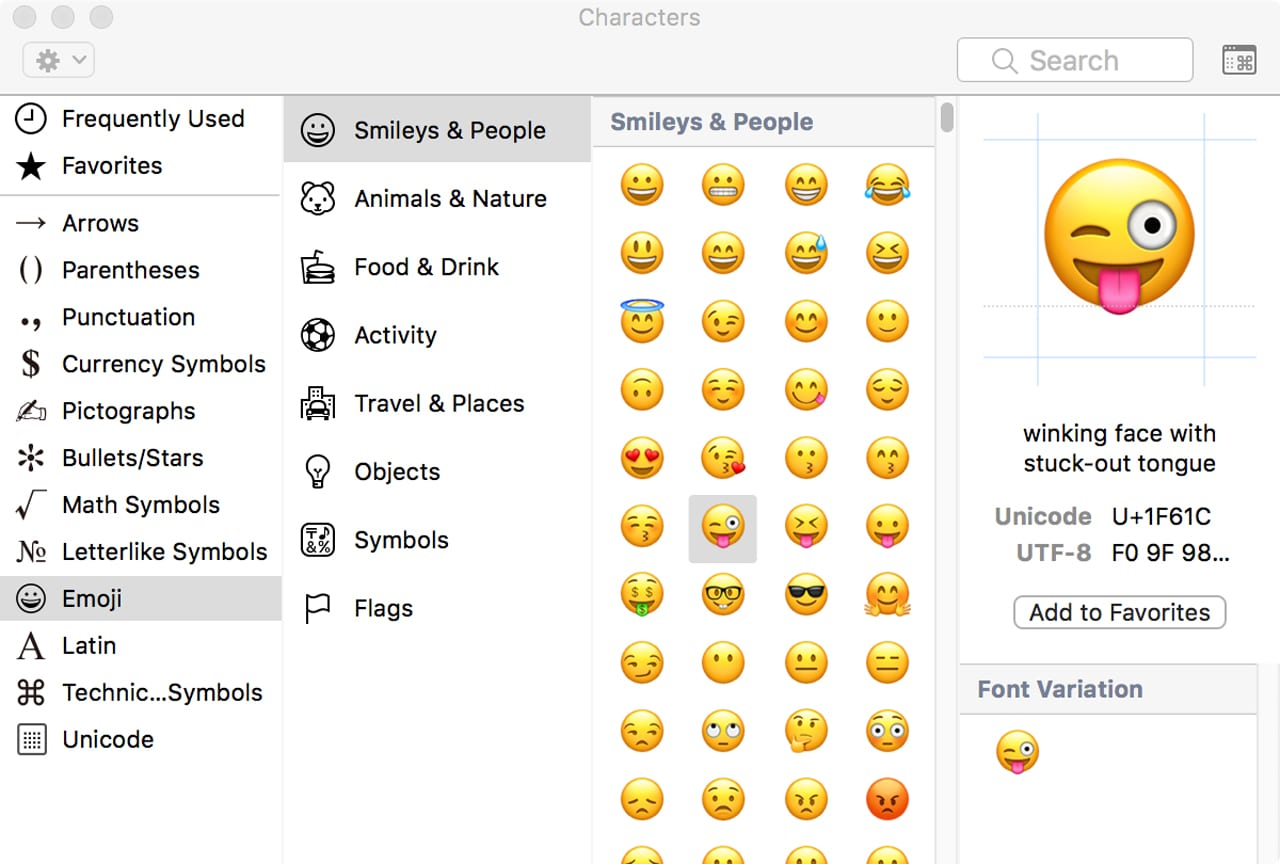 (Quick access to emoji and other special characters can be had with the Special Characters palette.)