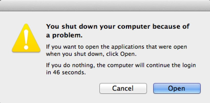 (Selecting Open will launch all the apps that were running when your Mac crashed.)