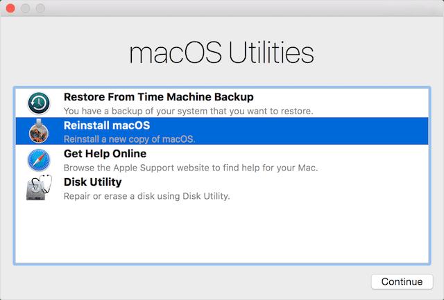 macOS Sierra's macOS Utilities