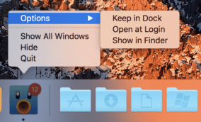 Right-click a Dock icon to display this menu