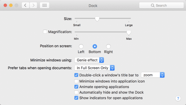 The Dock preference pane