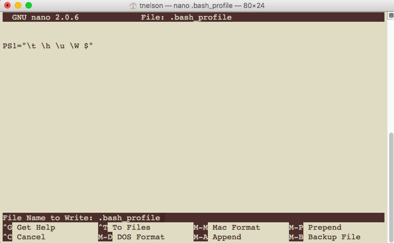 (The nano editor opens within Terminal, and provides basic text editing functions.)