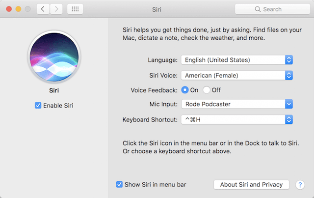 Setting a keyboard shortcut to invoke Siri