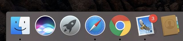 In this screenshot, Finder, Safari, Chrome and Mail are currently running.