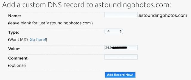 Adding a custom DNS record pointing the domain name to the static IP address