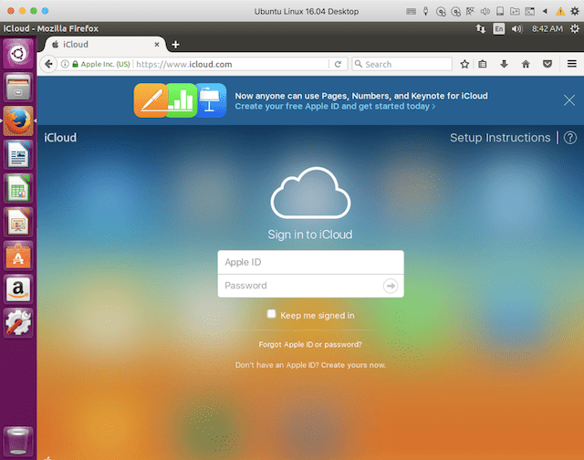 iCloud.com as seen in Firefox on a Linux machine