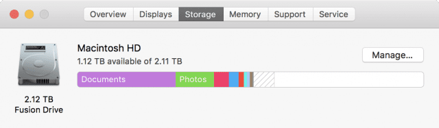 Checking storage usage in macOS Sierra
