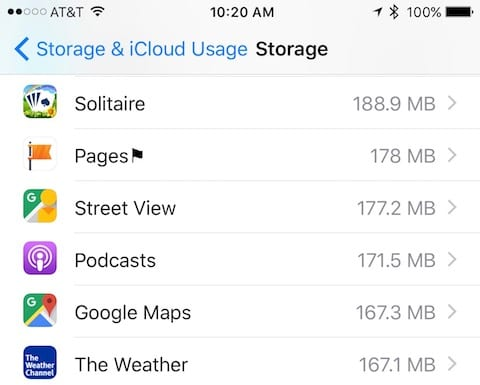 App storage usage