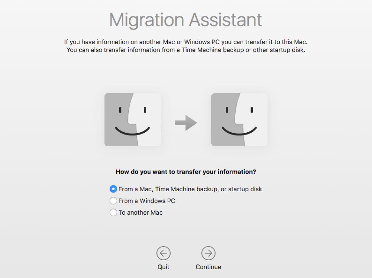 mac migration assistant stuck less than a minute