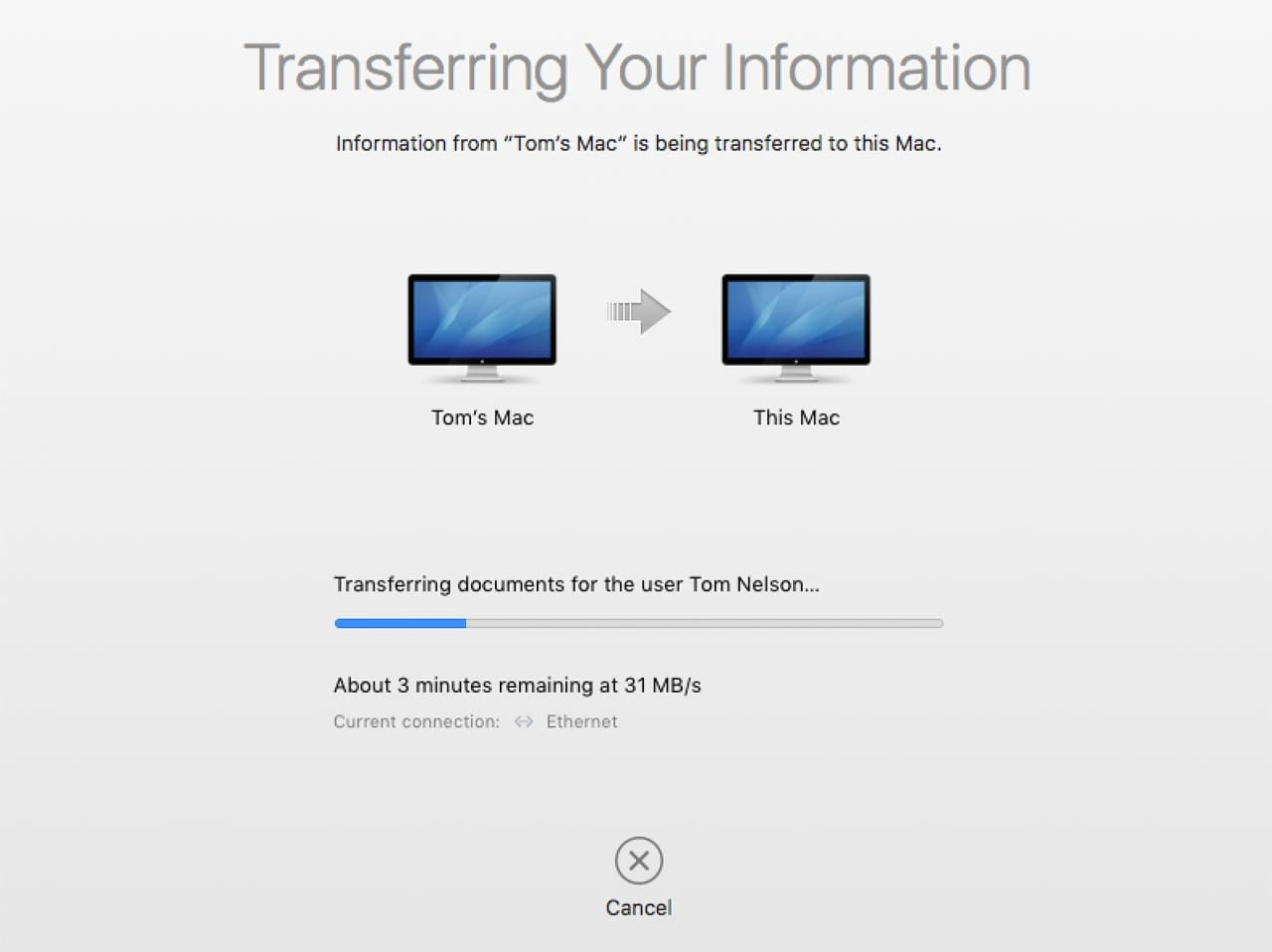 Migration Assistant Transfer Status