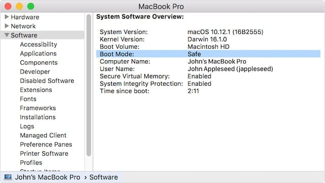 System Information shows that this Mac has booted into Safe Mode