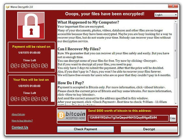 The ransom notice from the WannaCry ransomware -- May 12, 2017