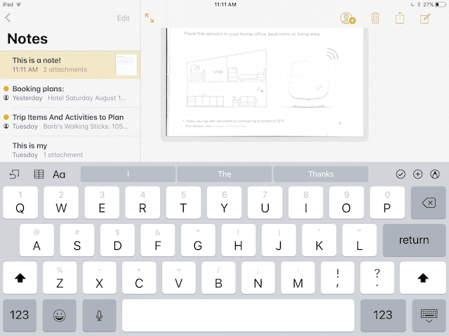 New iOS keyboard with symbols and numbers above the letters (also check out the scanned document in the note)