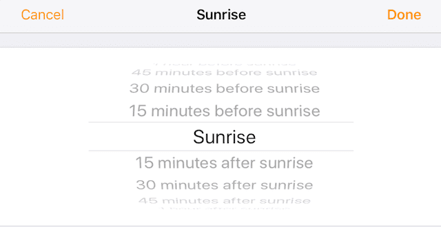 How to set times before/after sunset or sunrise in the Home app.