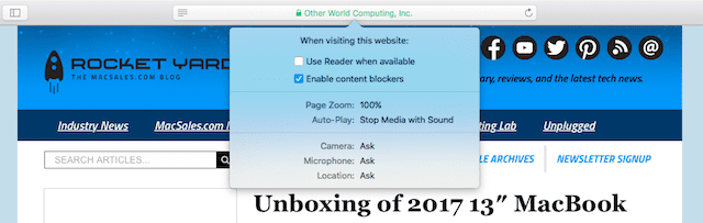Safari settings for individual websites