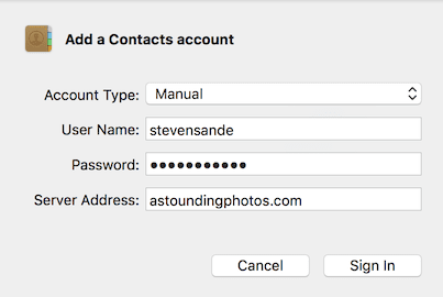 Adding a Contacts account in macOS Sierra