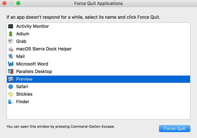 Use the Force Quit option to kill an app that is stuck in the quasi-state between open and closed